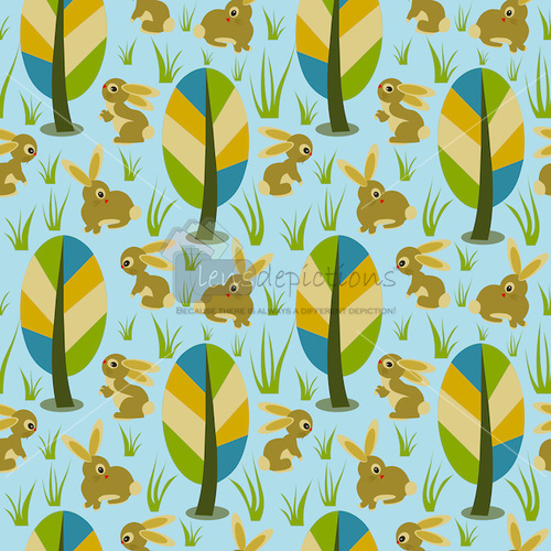 Stock vector seamless pattern with cute bunnies roaming around forest trees!