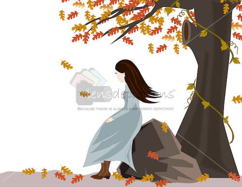 girl-under-autumntree-vector
