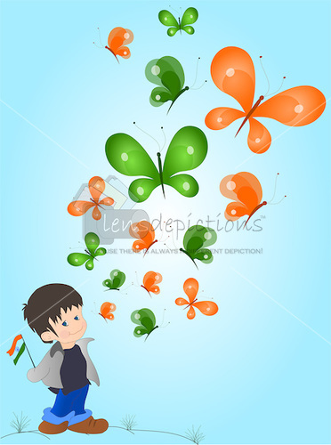Stock vector - Little Indian boy watching Indian color butterflies fly above him.