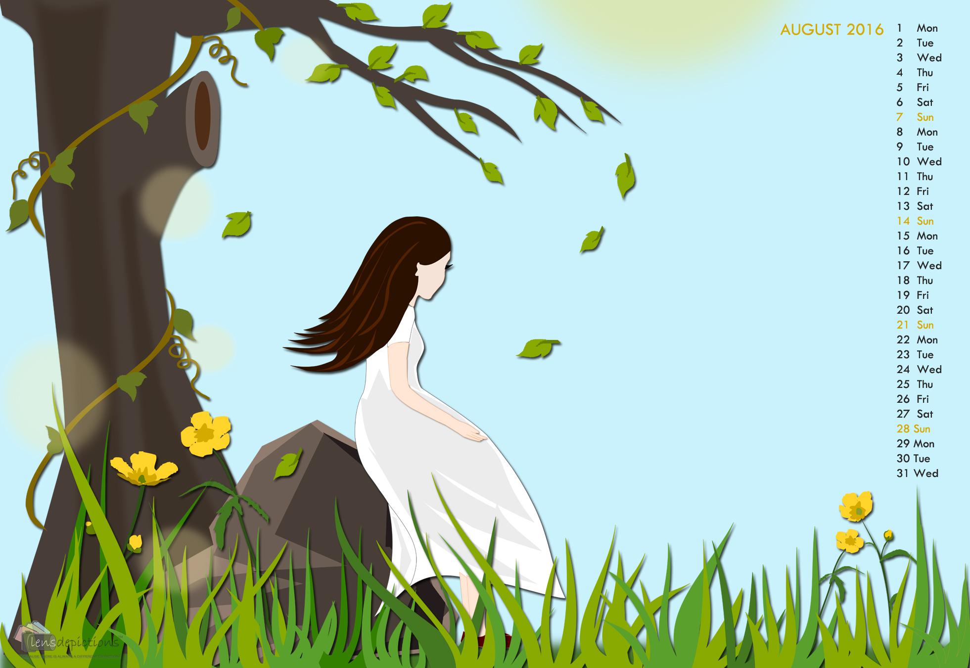 """Girl under the tree"" – Making of the August 2016 Desktop Calendar Wallpaper!"