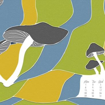 The Mushroom Landscape – An illustration + May 2017 Desktop Calendar Wallpaper Free Download