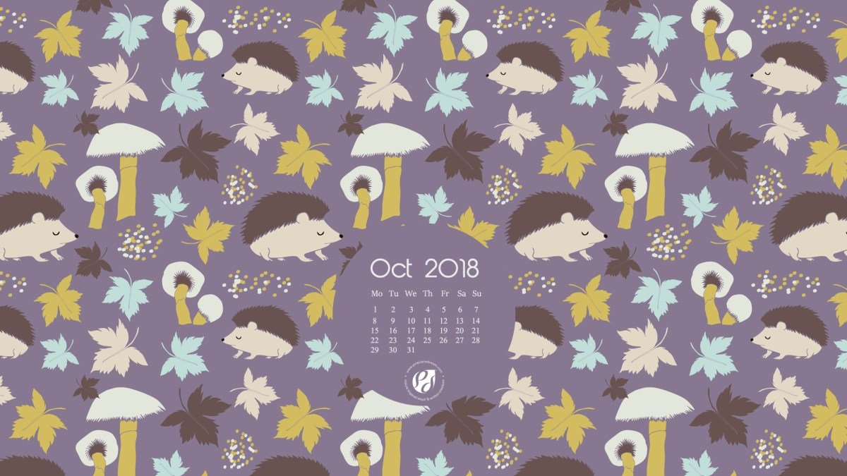 October 2018 Free Wallpapers/Calendars & Printable Planner, illustrated –  Autumn hedgehogs!