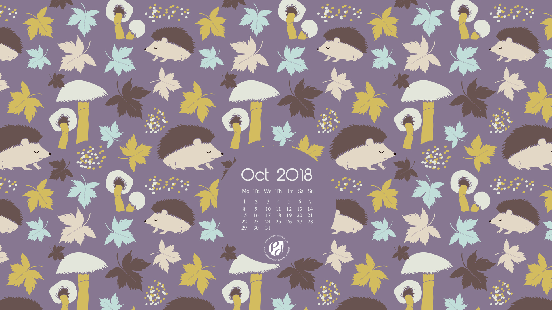 October 2018 free desktop calendar wallpaper
