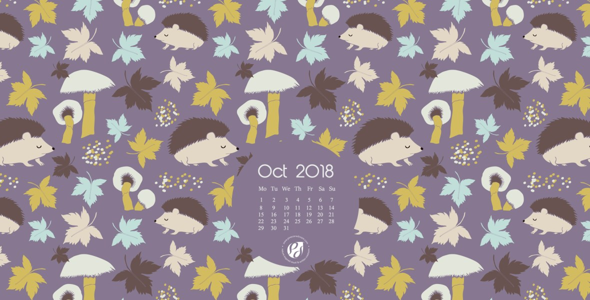 October 2018 free desktop calendar wallpaper