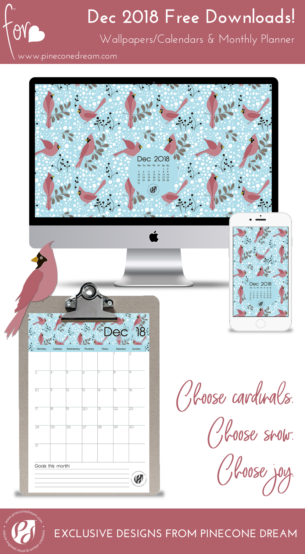 December2018_Wallpapers&Calendars_Bundle_Pineconedream