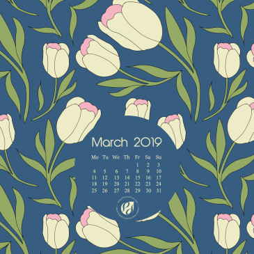 March 2019 free calendar wallpapers & printable planner, illustrated – Spring Tulips Tossed
