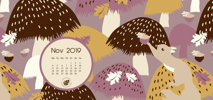 Nov 2019 calendar desktop wallpaper