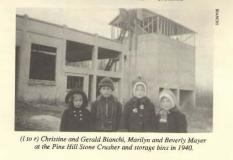 Kids in 1940 near stone crusher