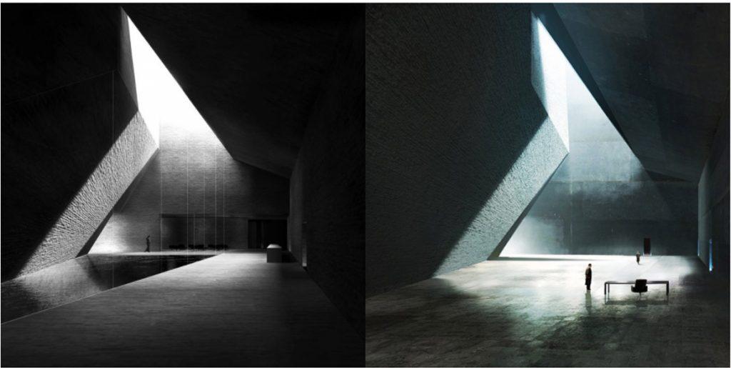 Izquierda: Proyecto del estudio Barozzi Veiga. Derecha: Concept art por Peter Popken. Imagen vía @klaustoon [Twitter]