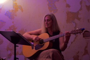 Barbara Reese Playing guitar and recording at Pinetop Recording Studio in the Pocono Mountains
