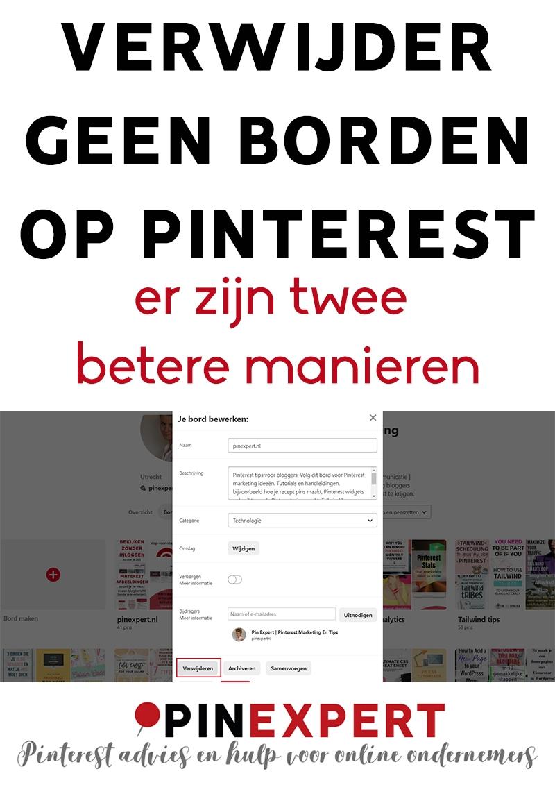 Borden verwijderen op Pinterest