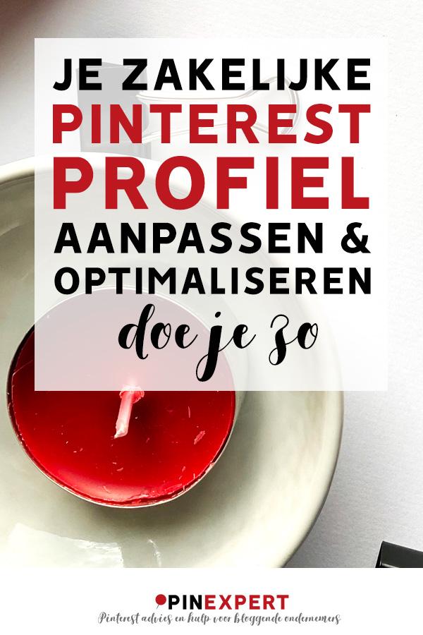 Pinterest-pin met de tekst: Je zakelijke Pinterest profiel aanpassen en optimaliseren doe je zo