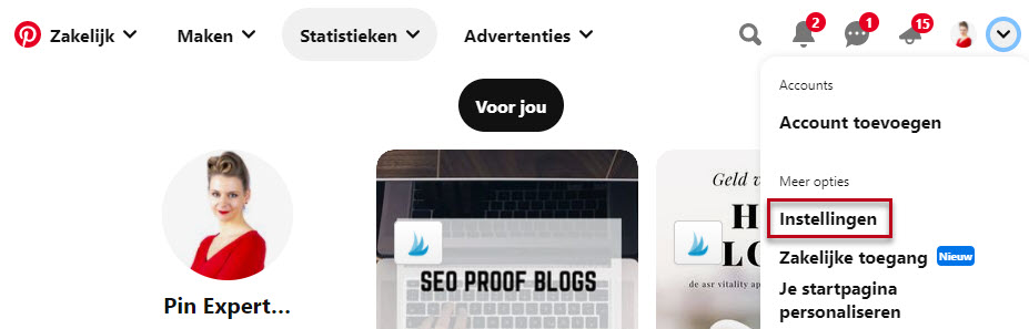 Screenshot instellingen Pinterest