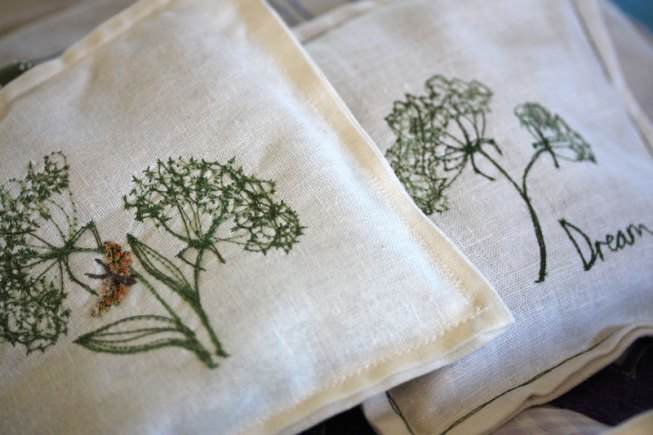 Embroidered Lavender bags