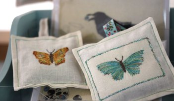 Lavender Bags with Embroidered Butterfly