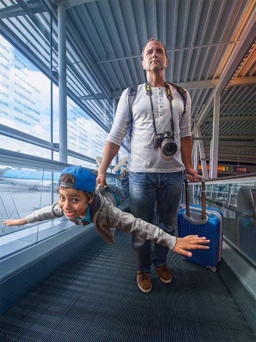 Отец с помощью фотошопа создает удивительные фото со своим сыном