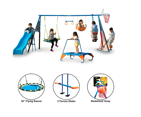 FITNESS REALITY KIDS 'The Ultimate' 8 Station Sports Series Metal Swing Set