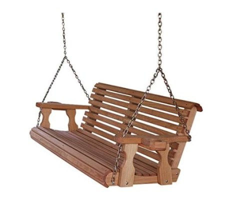 Amish Heavy Duty 800 lbs Roll Back 5ft Treated Porch Swing With Cupholders