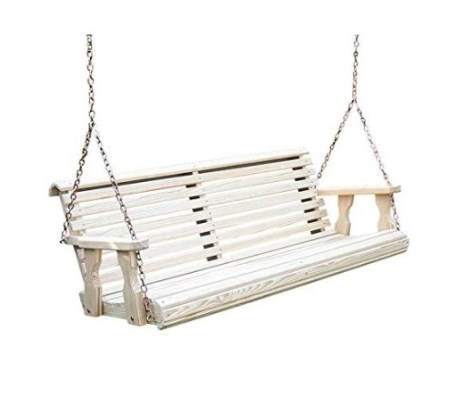 Amish Heavy Duty 800 Lbs Roll Back Treated Porch Swing With Hanging Chains