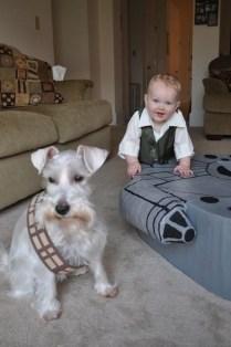 Han Solo accompagné de son Wooffie (!)
