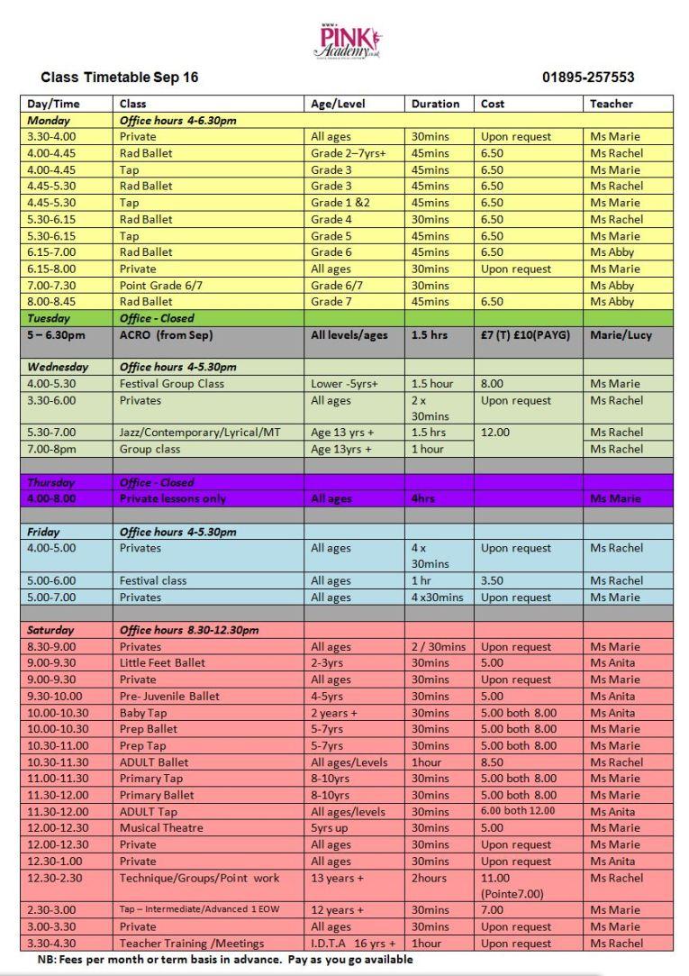 Timetable - September