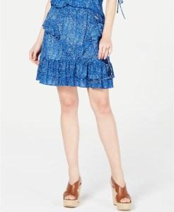 Michael Kors Printed Ruffled Skirt