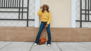 Rock n Roll Vibes with Flare Jeans & Chunky Sweater