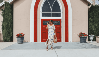 Vintage Style Spring Dress with Bold Floral Prints