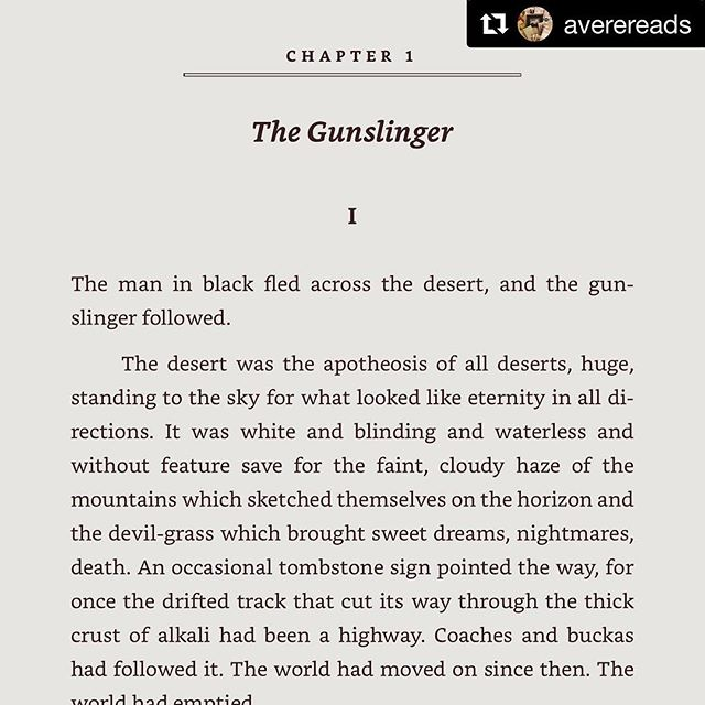 #Repost @averereads・・・For almost as long as I've been a reader, I've been reading @stephenking. I remember reading 'The Shining' at about 13 years of age, scared out of my mind, but unable to stop turning the pages. This summer The Gunslinger movie is coming out (with @idriselba!!!) and what better way to get ready than to go back the beginning - one more time.