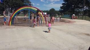Having fun at the splash park