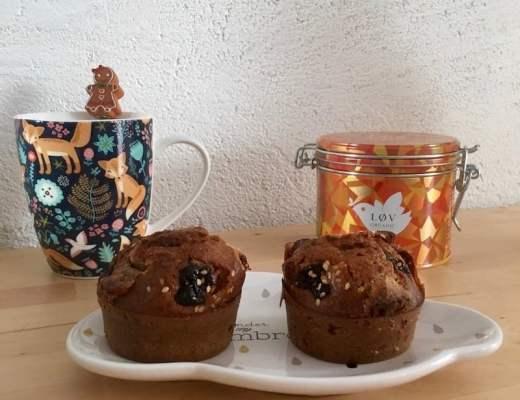 Muffins aux cranberries et chocolat blanc sans gluten