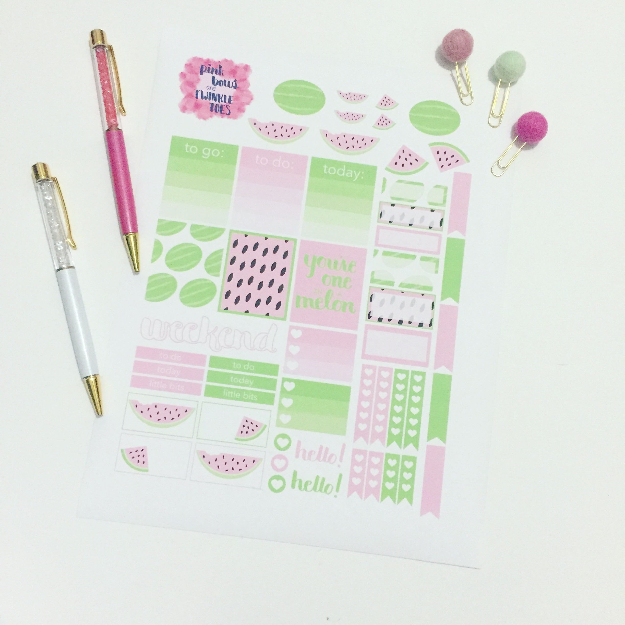 photo regarding Have a Ball This Summer Free Printable named Summer time Melons Planner Stickers: Cost-free Printable - Red Bows