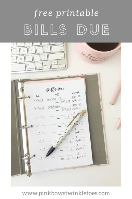 Bills Due Tracker: Free Printable Planner Insert - Pink Bows & Twinkle Toes