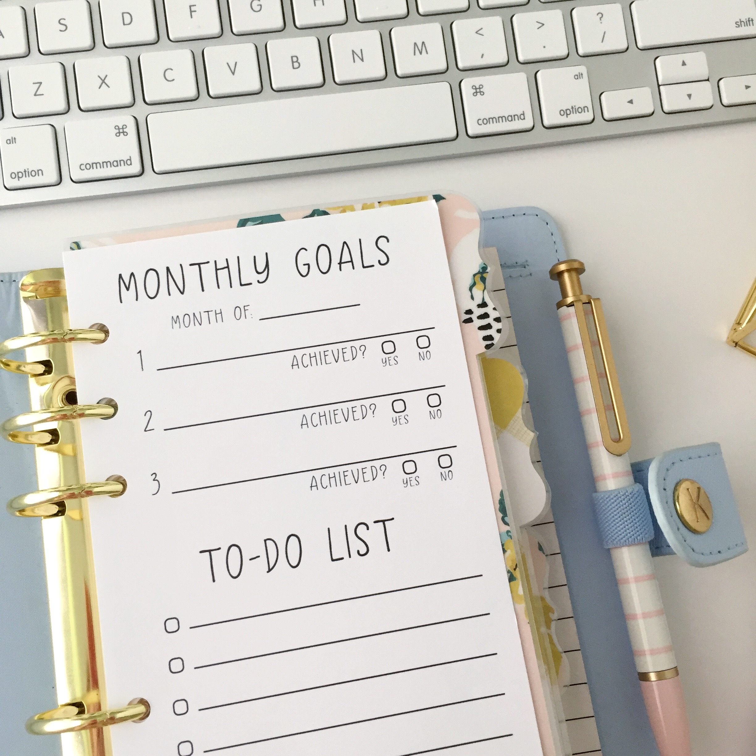 Personal Size Monthly Goals To Do List Insert Free