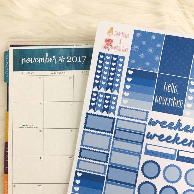November Functional Planner Stickers: Free Printable - Pink Bows & Twinkle Toes