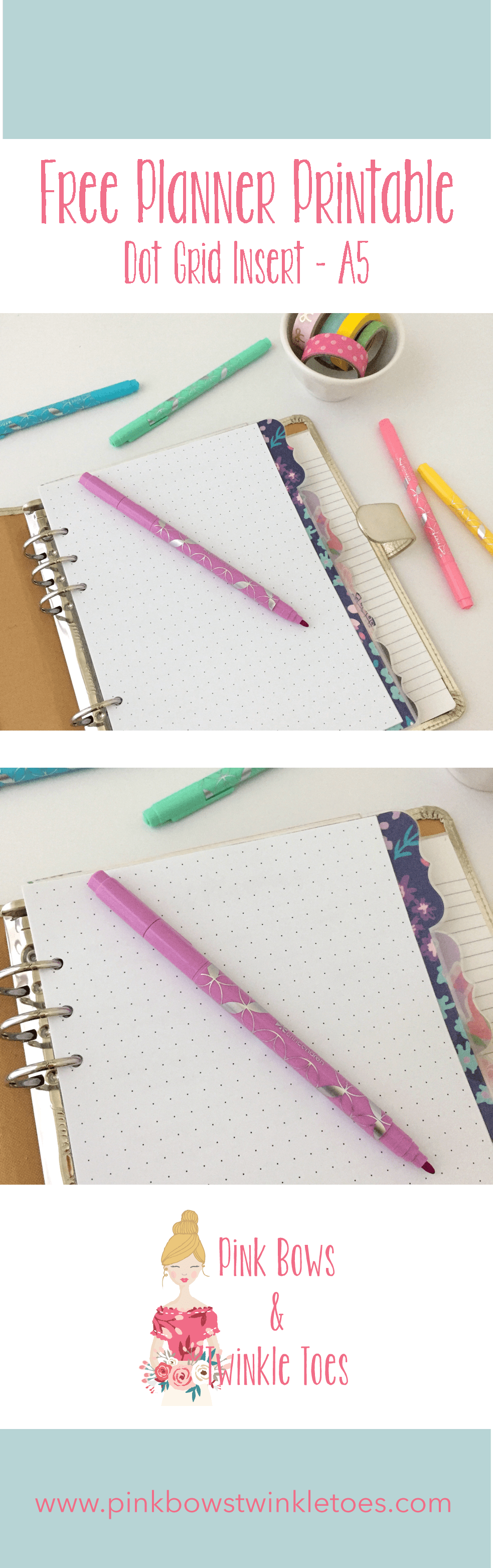 photograph regarding A5 Dot Grid Printable named Dot Grid Include: Absolutely free A5 Planner Printable - Crimson Bows