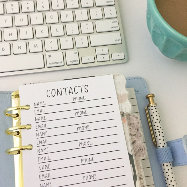 Contacts List: Free Personal Size Planner Printable - Pink Bows & Twinkle Toes