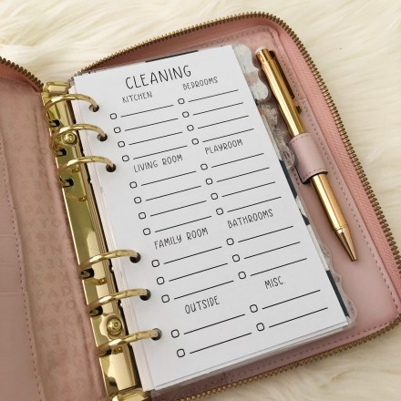 Cleaning Checklist Insert: Free Personal Size Planner Printables - Pink Bows & Twinkle Toes