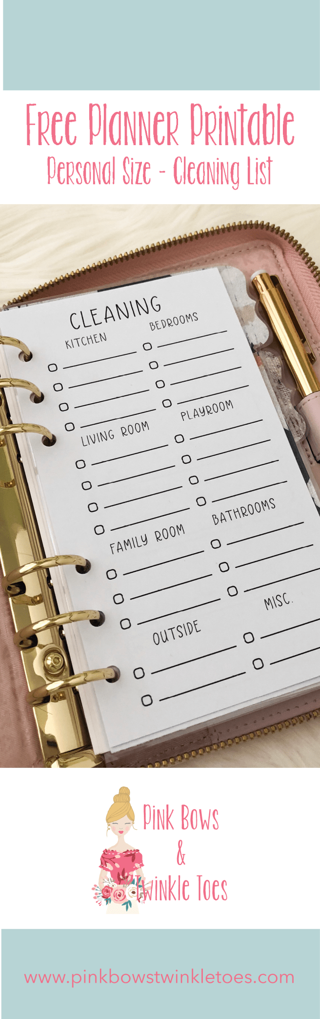 Cleaning Checklist Insert: Free Personal Size Planner Printable - Pink Bows & Twinkle Toes