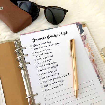 Summer Bucket List Insert: Free A5 Planner Printable - Pink Bows & Twinkle Toes
