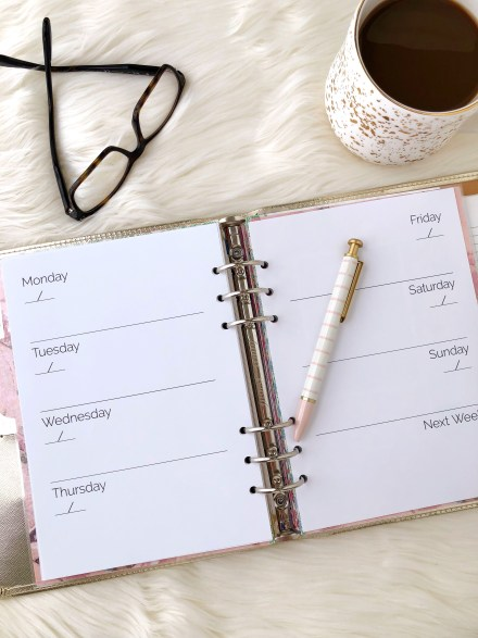 Weekly Calendar Printable: Classic Planner Insert - Pink Bows & Twinkle Toes