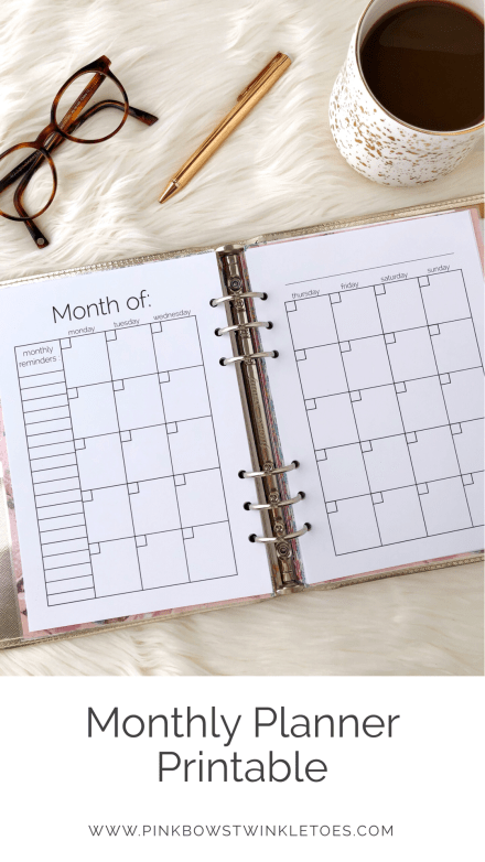 Monthly Calendar Printable: Classic Planner Insert - Pink Bows & Twinkle Toes