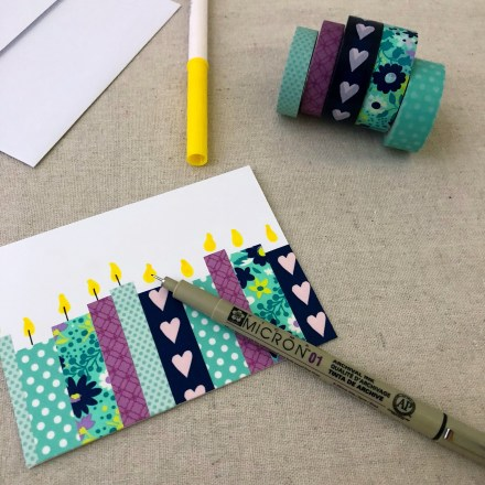 Easy DIY: Washi Tape Birthday Card - Pink Bows & Twinkle Toes
