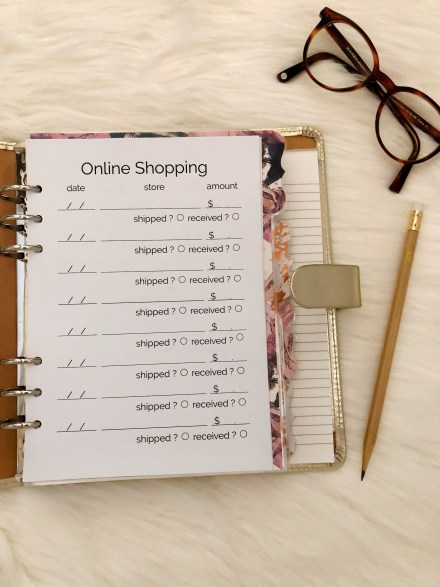 Online Shopping Tracker Printable: Classic Planner Insert - Pink Bows & Twinkle Toes