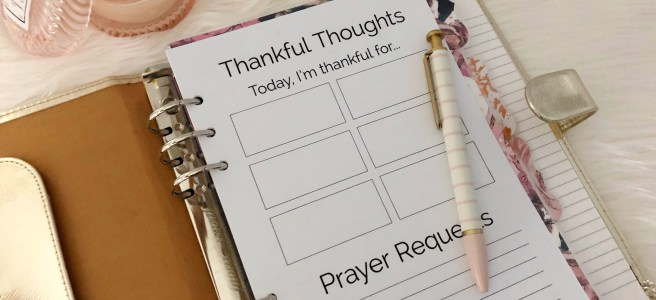 Thankful Thoughts Gratitude Printable: Classic Planner Insert - Pink Bows & Twinkle Toes