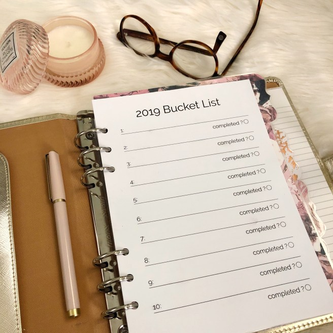 2019 Bucket List Printable: Classic Planner Insert - Pink Bows & Twinkle Toes