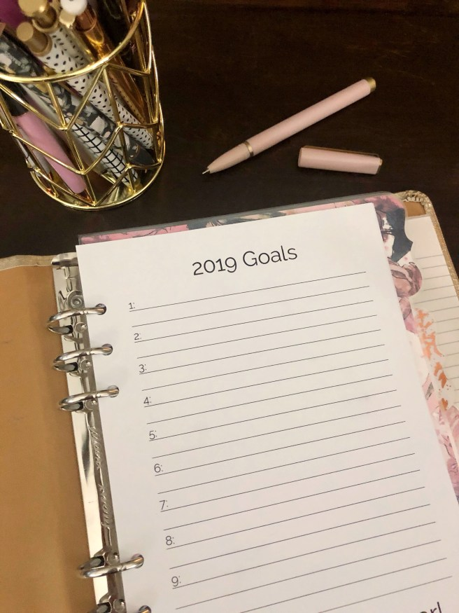2019 Goals Printable - Pink Bows Twinkle Toes