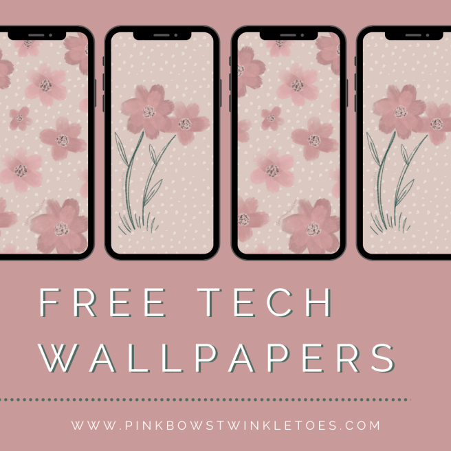 Free Download: Fall Floral Tech Wallpapers - Pink Bows & Twinkle Toes