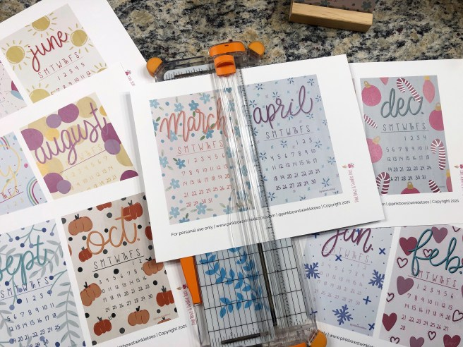 Trimming Calendar Pages - Pink Bows & Twinkle Toes
