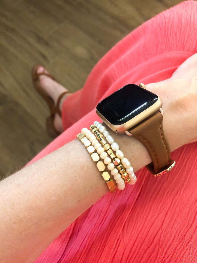 Brown Leather Apple Watch Band - Pink Bows & Twinkle Toes